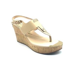 8.5 Guess wedges. Beige, gold, and tan